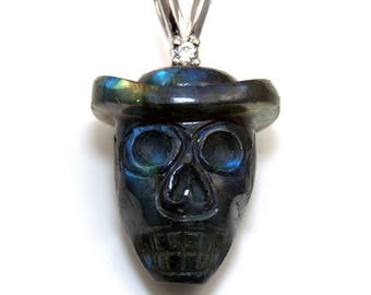 Skull Pendant labradorite & Diamond Hand Carved Limited edition Mexican Indian 34ct