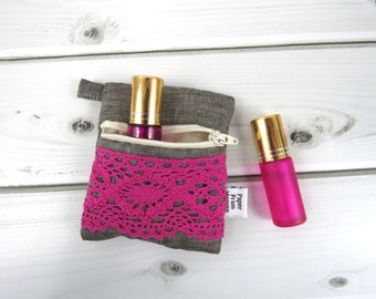 Mini Essential Oil Zippered Pouch - AMANDA in Graphite - linen and lace roller bottle case travel case chapstick holder IEM  earbud holder