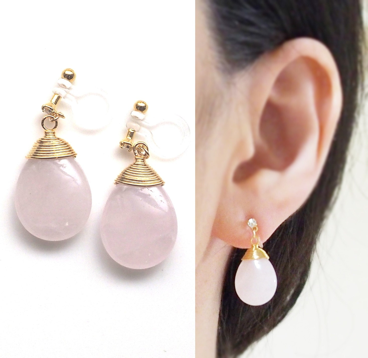zoomed image a silver shell i les products r mermaid earrings pink am clip on ides and n