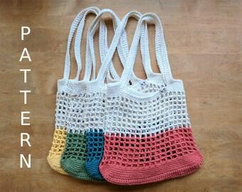Color Block Market Bag - Crochet Pattern | Eco-friendly | Zero Waste