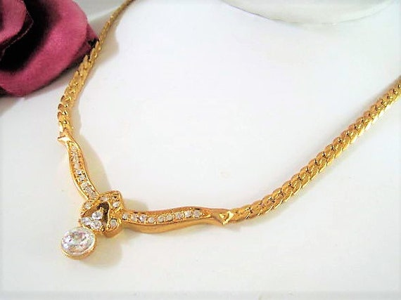 Solitaire CZ Necklace,  Gold Tone, Necklace with Extension, Cubic Zirconia  Gold Link Chain