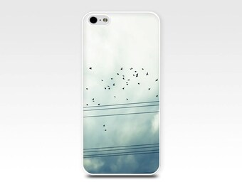 iphone 5s case birds iphone 6 case iphone 4 4s 5 case fine art iphone case birds on wire iphone case photography flock of birds flying blue