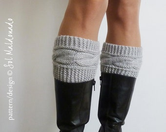 KNIT PATTERN Boot socks pattern Boho Knits - Boot Cuffs, leg warmers Knitting Pattern - Instant DOWNLOAD knit cable pattern
