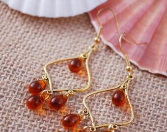 Boho Gold Chandelier Earrings, Bubble earrings, Chick earrings, Festival Drop Earrigns, Red Bohemian Hoops