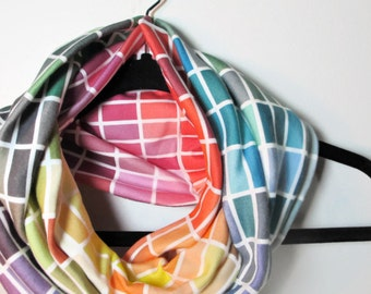 Color Swatch Infinity Scarf - Organic Infinity Scarf - Paint Chip Infinity Scarf - Rainbow Scarf - Handmade with Organic Cotton Jersey