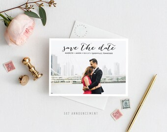 Printable Save the Date Announcement   Simple, Chic, Elegant, One Photo, Postcard, Engaged