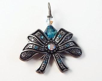 Victorian bow pendant - Swarovski crystal  - bow charm - crystal bow - Teal blue - handwrapped pendant - gunmetal
