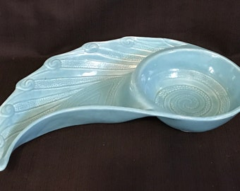 Vintage Turquoise Art Deco Serving Dish Contemporary Dish Chip and Dip Server