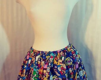 Super Mario Bros Nintendo Nerd Girl Full Skirt Size medium 32 to 38 inches wide