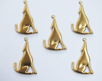 LOT 5 METALS CHARMS Gold: Coyote 28 mm