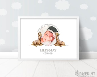 Custom Giraffe Baby Name Print - Giraffe nursery name art baby name sign, baby photo baptism gift, giraffe baby art christening gift