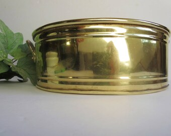 Vintage Brass Planter, Cachepot, Container - Round Brass Planter With Handles -  Hollywood Regency Decor - Boho Decor