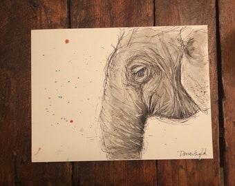 Custom Elephant Profile Painting, Watercolor Elephant Painting, Wildlife Painting, Thailand Painting