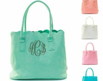 Scalloped Top Faux Leather Monogrammed Handbag
