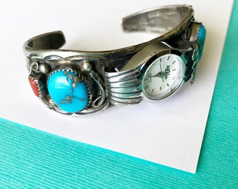 Navajo Appliqué Sterling Red Coral and Turquoise Watch Cuff by Thomas Tso