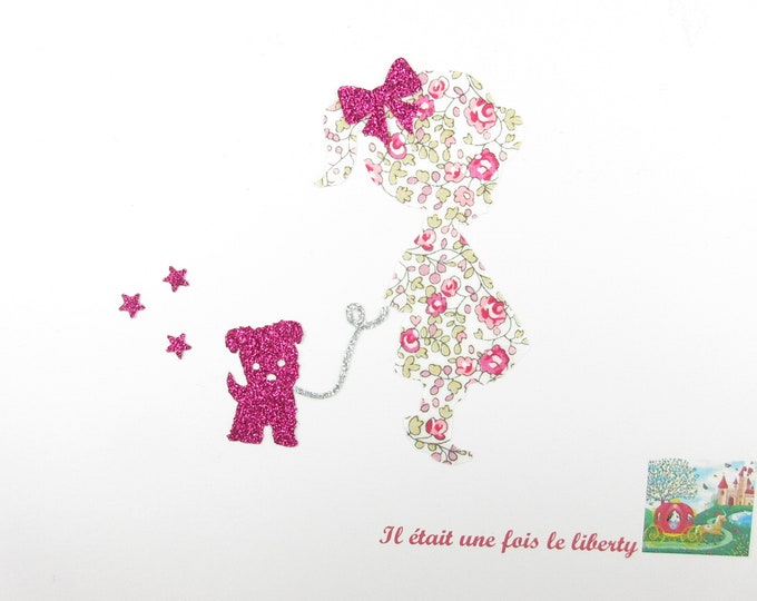 Applied fusing girl dog puppy baby fabric liberty Eloise pink flex glitter patch iron on fusible liberty