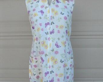 SALE Vintage 70s Sun Dresses . Lot of 3 Sundresses . Butterfly Floral Cotton Zip Front . M-L