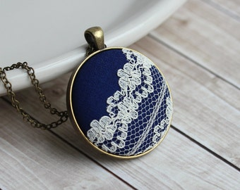 Navy Blue and Ivory Lace Jewelry, Boho, Unique Necklace For Women
