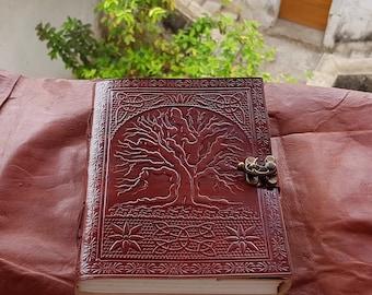 50% OFF Handmade blank leather journal, gift men women, embossed tree of life notebook, vintage diary with lock, personalized sketchbook DIY