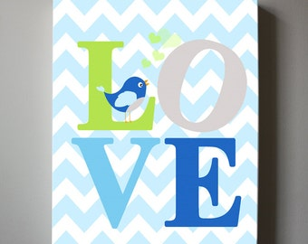 LOVE Baby Nursery Decor Canvas Art - Baby Boy room, Play Room Decor Wall art, Blue and Green Nursery Art