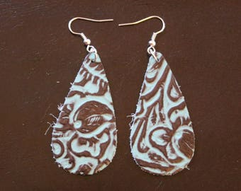 Blue/Brown Leather Earrings