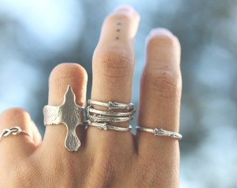 Artemis ; Sterling Silver Branch Twig stack ring