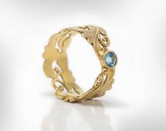 Blue Topaz Ring, Birthstone Ring, December Birthstone Ring, Vintage Gold ring, Anniversary Ring For Her, Birthday Gift Ring, Free Shipping