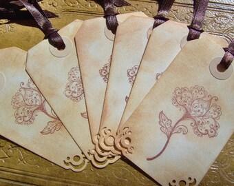 Vintage Flower Themed Gift Tags - Set of 6 Medium Tags