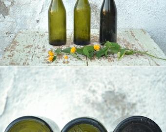 Vintage Bottles, Set of 3 Bottles, Olive Green Glass Bottles from the 40's, Vintage Wedding Decoration, Glass Vases, Beer Bottle Set