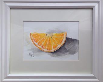 Watercolor painting, art decor, art gift, still life, orange, home decor