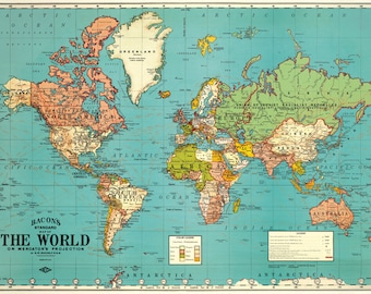 Cavallini World Map Blue Paper