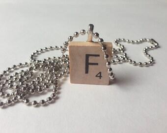 Scrabble Tile Alphabet Letter Necklace F