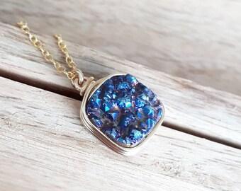 Genuine Druzy / Blue  Druzy Pendant/Druzy Necklace / Druzy Jewelry / Gifts for Her/Free Shipping Canada /Ready to Ship
