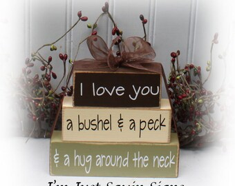 I Love You A Bushel and A Peck and A Hug Around The Neck Itty Bitty Blocks