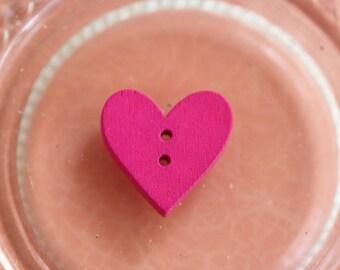 Buttons wooden Fuchsia heart