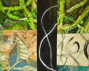 Tangle - Collage with Hand Painted Papers 5 x 5 on 8 x 10 Backing