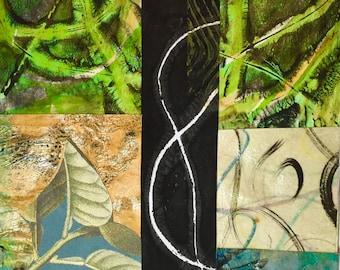 S'emmêler - Collage avec papiers 5 x 5 sur 8 x 10 support peint