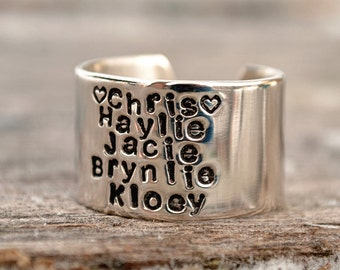 Personalized Husband and Children Cuff Ring with Hearts.  Sterling Silver Stacked Name Ring.