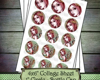 Fairy Bottle Cap Images - 1 Inch Circles - 4x6 Digital Collage Sheet - Printable Fairy Images - Instant Download - Arden - COMMERCIAL USE