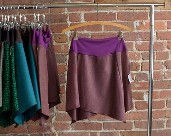 Womens Mini Skirt, Asymmetrical, Organic Bamboo, Bohemian Skirt, Gypsy Skirt, Comfy, Flared Skirt, Eggplant Purple, Cute Skirt, Wool Skirt