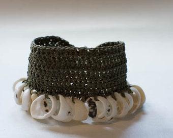 Handmade shell and hemp crochet bracelet/wrist cuff