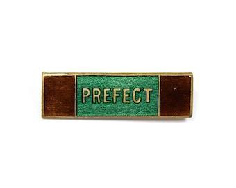 Vintage school Prefect pin, prefect badge, green enamel school badge, school uniform, brass pin, lapel pin, maroon enamel, Slytherin