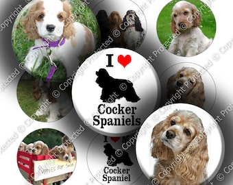 "Digital Bottle Cap Collage Sheet - Love Cocker Spaniels (968) - 1"" Digital Bottle Cap Images"