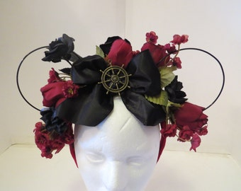 Disney Pirates of the Caribbean Jack Sparrow Mouse Ears Flower Crown Maroon Black Dead Mans Chest Ship Boat