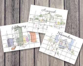 building calendar, fridge calendar, monthly calendar, monthly planner, desk decal calendar