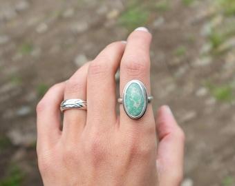 Light blue turquoise ring, simple turquoise boho ring, turquoise stacking ring, size 5.5