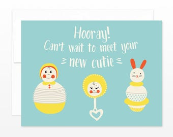 Cute New Baby Vintage Toys Card - Hooray! Can't Wait to Meet Your New Cutie - New Parents Expecting Baby Shower Greeting Card