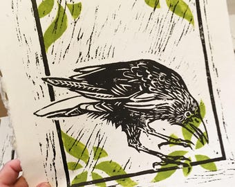 Crow Woodcut Print on Handmade Paper