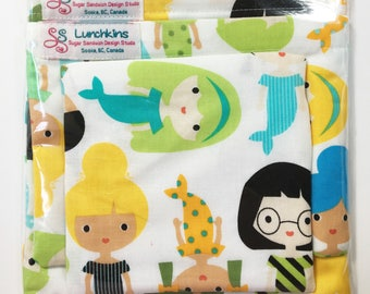 Snack Bags MERMAIDS Re-Usable Washable with Closure Options