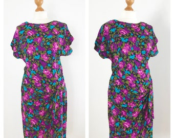 Vintage, bright floral mini festival dress. Size 10-12